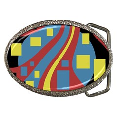 Colorful abstrac art Belt Buckles