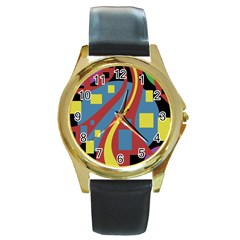 Colorful abstrac art Round Gold Metal Watch