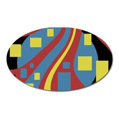Colorful abstrac art Oval Magnet