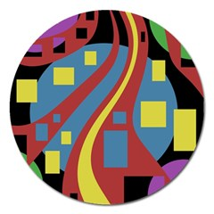 Colorful abstrac art Magnet 5  (Round)