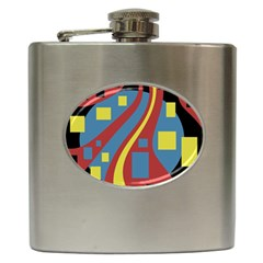 Colorful abstrac art Hip Flask (6 oz)