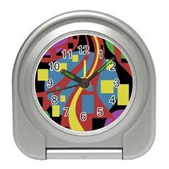 Colorful abstrac art Travel Alarm Clocks
