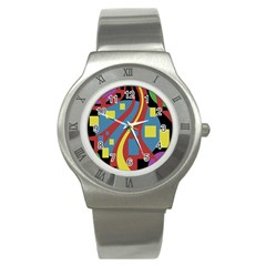 Colorful abstrac art Stainless Steel Watch