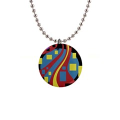 Colorful abstrac art Button Necklaces