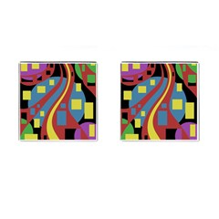 Colorful abstrac art Cufflinks (Square)
