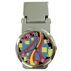 Colorful abstrac art Money Clip Watches