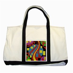 Colorful abstrac art Two Tone Tote Bag