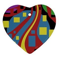 Colorful abstrac art Heart Ornament (2 Sides)