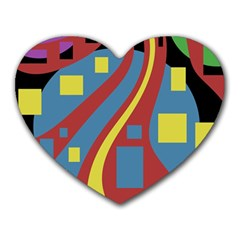 Colorful abstrac art Heart Mousepads
