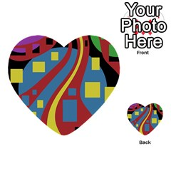 Colorful abstrac art Multi-purpose Cards (Heart)