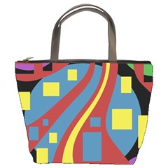 Colorful abstrac art Bucket Bags