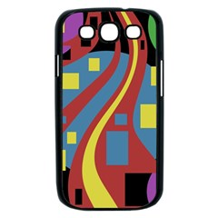 Colorful abstrac art Samsung Galaxy S III Case (Black)