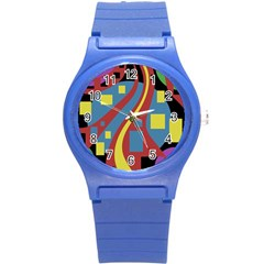 Colorful abstrac art Round Plastic Sport Watch (S)