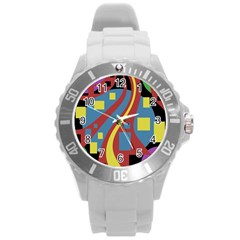 Colorful abstrac art Round Plastic Sport Watch (L)