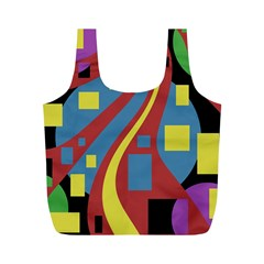 Colorful abstrac art Full Print Recycle Bags (M)