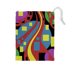 Colorful abstrac art Drawstring Pouches (Large)