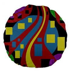 Colorful abstrac art Large 18  Premium Flano Round Cushions