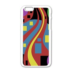 Colorful abstrac art Apple iPhone 6/6S White Enamel Case