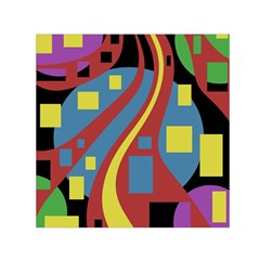 Colorful abstrac art Small Satin Scarf (Square)