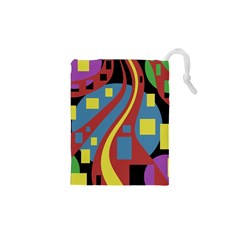 Colorful abstrac art Drawstring Pouches (XS)