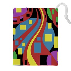 Colorful abstrac art Drawstring Pouches (XXL)