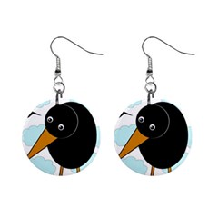 Black raven Mini Button Earrings