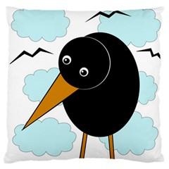 Black raven Large Flano Cushion Case (One Side)