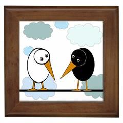 Black and white birds Framed Tiles