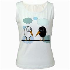 Black and white birds Women s White Tank Top