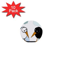 Black and white birds 1  Mini Buttons (10 pack)