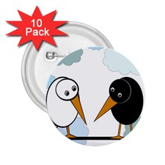 Black and white birds 2.25  Buttons (10 pack)