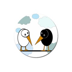 Black and white birds Magnet 3  (Round)