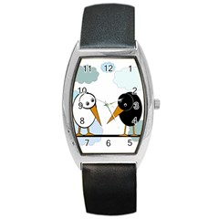 Black and white birds Barrel Style Metal Watch