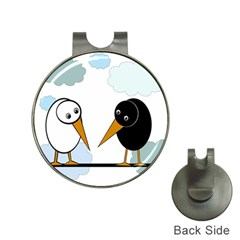 Black and white birds Hat Clips with Golf Markers