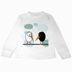 Black and white birds Kids Long Sleeve T-Shirts