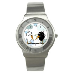 Black and white birds Stainless Steel Watch