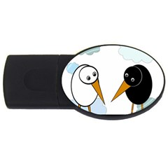 Black and white birds USB Flash Drive Oval (4 GB)