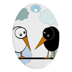 Black and white birds Oval Ornament (Two Sides)