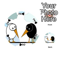 Black and white birds Playing Cards 54 (Round)