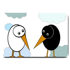 Black and white birds Large Doormat