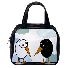 Black and white birds Classic Handbags (One Side)