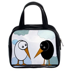Black and white birds Classic Handbags (2 Sides)