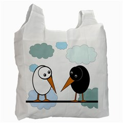 Black and white birds Recycle Bag (Two Side)