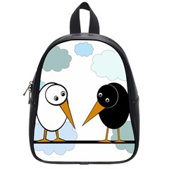 Black and white birds School Bags (Small)