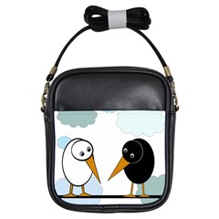 Black and white birds Girls Sling Bags