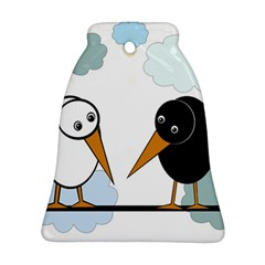Black And White Birds Bell Ornament (2 Sides)