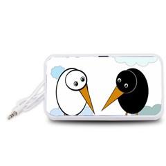 Black and white birds Portable Speaker (White)