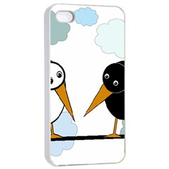 Black and white birds Apple iPhone 4/4s Seamless Case (White)