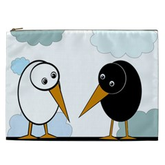 Black and white birds Cosmetic Bag (XXL)