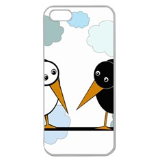 Black and white birds Apple Seamless iPhone 5 Case (Clear)